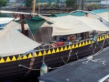 复制品北欧海盗小船, Blackwattle海湾,悉尼港口,澳大利亚 免版税库存图片