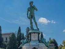 复制品大卫雕象米开朗基罗广场俯视佛罗伦萨托斯卡纳意大利 免版税库存图片