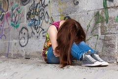复制女孩大量问题空间少年 库存照片