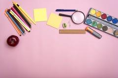 复制空间大模型模板并且教育文具 盖子设计 库存照片