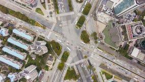 复杂交叉路在上海,中国 空中垂直的自上而下的看法 影视素材