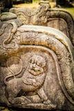 复杂地被雕刻的石栏杆的支的细节在古老ci的 免版税库存图片