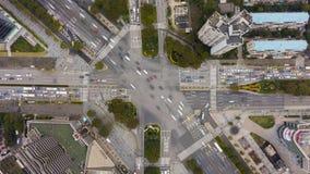 复杂平交道口在上海,中国 空中垂直的自上而下的看法 影视素材