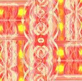 复杂未来派被转移的装饰品桃红色橙黄红色 免版税库存照片