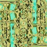 复杂未来派被转移的装饰品浅绿色的橄榄绿薄菏 库存图片