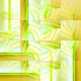 复杂正方形仿造与被转移的条纹的浅绿色的黄土浅兰的白色 库存照片