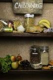 复杂碳水化合物的产品富有 食物最高在碳水化合物 健康饮食吃概念 快速和慢碳水化合物 库存照片