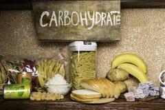 复杂碳水化合物的产品富有 食物最高在碳水化合物 健康饮食吃概念 快速和慢碳水化合物 免版税库存照片