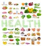 复杂碳水化合物,蛋白质,菜孤立的食物来源 库存图片