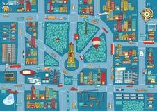 复杂繁忙的城市地图 免版税库存照片