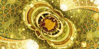 复杂美好的伊斯兰教的几何天花板样式在大厅里在伊斯法罕,伊朗 库存图片