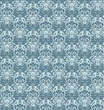 复杂银和蓝色豪华无缝的样式在黑暗的背景 免版税库存照片