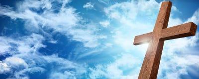 复活或在十字架上钉死 在天空背景的木十字架与云彩 基督徒复活节概念 3d illustrationWeb横幅 Resu 向量例证
