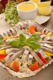 复活节与柠檬垂度的鲱鱼沙拉 图库摄影