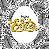 复活节与花卉框架的贺卡在蛋形状 背景草本基础的设计 为季节贺卡和横幅完善 皇族释放例证