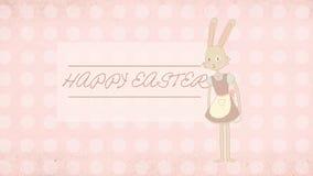 复活节与逗人喜爱的兔宝宝例证的贺卡 免版税库存图片