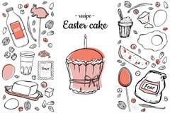 复活节两色蛋糕的食谱 向量例证