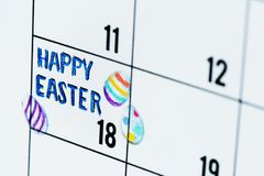 复活节假日日历提示 免版税库存图片