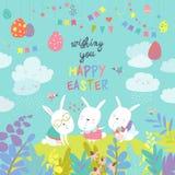 复活节兔子和复活节彩蛋 免版税库存照片