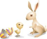 复活节兔子和小鸡 免版税库存照片