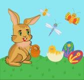 复活节兔子和鸡。 向量例证 库存照片