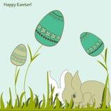 复活节兔子和鸡蛋 库存图片