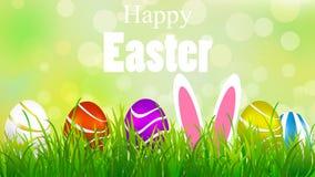 复活节兔子在鸡蛋之间的草甸 库存例证