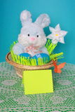 复活节兔子-看板卡,在篮子的鸡蛋-库存照片 免版税库存图片