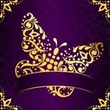 复活节典雅的框架金子紫色正方形 库存照片