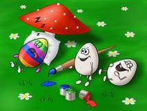 复活节卡片用做胡闹的两个鸡蛋在第三个 库存照片