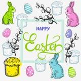 复活节卡片用兔子和花和题字 免版税库存图片