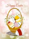 复活节卡片用色的鸡蛋和弹簧开花 免版税图库摄影