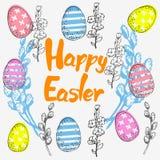 复活节卡片用鸡蛋和杨柳和题字 免版税库存图片