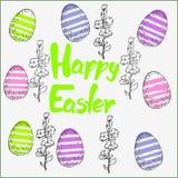 复活节卡片用鸡蛋和花和题字 免版税库存图片