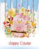 复活节变粉红色在摇摆和春天花的鸟 免版税库存图片