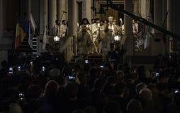 复活节在布加勒斯特家长式大教堂的光队伍 免版税库存图片