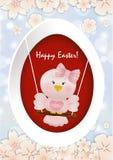 复活节在摇摆的桃红色鸟 免版税库存照片