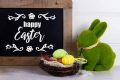 复活节场面用色的鸡蛋 免版税库存照片