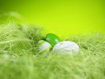 复活节嵌套有绿色背景(2) 库存照片