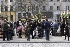 复活节市场3月30日 2018年在布拉格,捷克Eur 库存图片