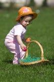 复活节彩蛋女孩一点 免版税图库摄影