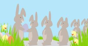 复活节彩蛋排队兔子 向量例证
