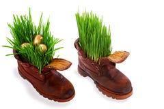 复活节彩蛋新鲜的金黄草老鞋子 免版税库存图片