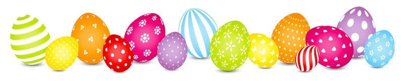 复活节彩蛋混合样式彩虹颜色横幅 皇族释放例证