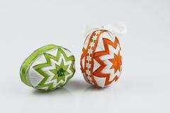 复活节彩蛋,做在补缀品技术,被隔绝在白色背景 免版税库存图片