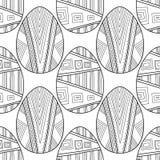 复活节彩蛋 彩图的,页黑白无缝的样式 向量 库存图片