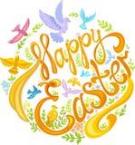 复活节快乐、鸟和叶子:小的花,绿色叶子 免版税库存照片