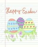 复活节快乐和drawen五颜六色的乱画-三装饰的easte 库存图片