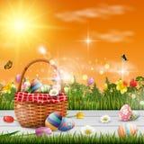 复活节快乐用鸡蛋和花在木背景 库存例证