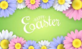 复活节快乐的横幅 春黄菊多彩多姿的花  季节性背景 也corel凹道例证向量 免版税图库摄影